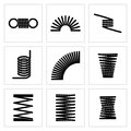 Metal spiral flexible wire elastic spring vector icons