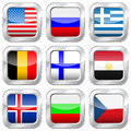 Metal square national flags flag button set on a white background Royalty Free Stock Image