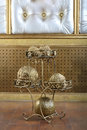 Metal stand with golden balls decorative element in the interior of the studio Stock Photography