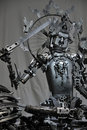 Metal statue of Manjusri Boddhisattva Royalty Free Stock Photo