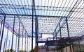 stock image of  Metal steels and aluminium frame structure for factory and warehouse construction industry