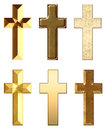Metal and stone crosses gold golden christian cross collection Royalty Free Stock Photography
