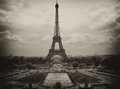 Metal Structure of Eiffel Tower against a Cloudy Sky Stock Images