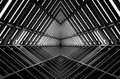 Metal structure similar to spaceship interior in black and white Royalty Free Stock Photo