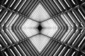 Metal structure similar to spaceship interior black and white photo. Royalty Free Stock Photo