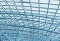 Metal structures on the roof of the shopping complex background toning Stock Image