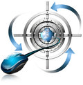 Metal target mouse and globe blue arrows on white background Stock Image