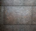 Metal texture with rivets as steam punk background Royalty Free Stock Photo
