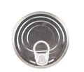 Metal tin conserve can top view white background Royalty Free Stock Images
