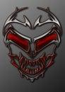 A Metal Tribal Alien Skull With Glowing Red Eyes