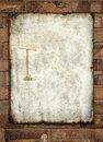 Metal vintage enamel advertisement sign on wall plaque fixed to a brick rusted dirty with post drawing inset ready for your text Royalty Free Stock Photos