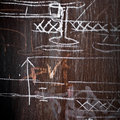 Metal wall with a chalky technical drawings Royalty Free Stock Photos