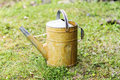 Metal watering can on a green grass Royalty Free Stock Photo