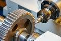 Metal working gear machining Royalty Free Stock Photo