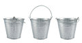 Metal zinc bucket isolated over white background set of three foreshortenings Royalty Free Stock Photography