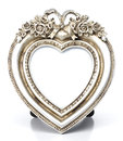 Metalic Heart Shape picture frame Royalty Free Stock Photo
