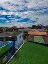 Metall roof view from hostel window balcony khao san road backpacking Bangkok Thailand Royalty Free Stock Photo