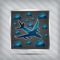 Metallic airplane in the air with clouds Royalty Free Stock Photos