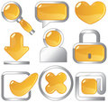 Metallic amber icons Royalty Free Stock Photo