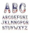 Metallic American Flag Font Royalty Free Stock Photo
