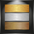 Metallic banners dark panel with three Royalty Free Stock Photos