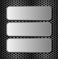 Metallic banners three on dark background Stock Images