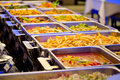 A Groups of  Metallic Banquet Buffet Meal on Trays Royalty Free Stock Photo