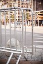 Metallic barrier on the street Royalty Free Stock Photo