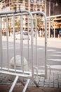 Metallic barrier on the street Royalty Free Stock Photo