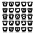 Metallic Black Square Web Buttons Stock Photos