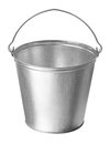 Metallic bucket on a white background Royalty Free Stock Photography