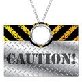 Metallic caution sign Stock Photography