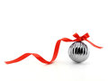 close up metallic glossy christmas ball with red ribbon bow isolated on white background Royalty Free Stock Photo