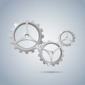 Metallic cogwheels with brushed surface and three spokes