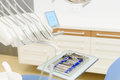 Metallic dental tools close up in a dentist clinic Royalty Free Stock Photo