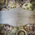 Metallic gears background raster illustration Stock Image