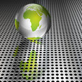 Metallic Green Globe on Chrome Grid Royalty Free Stock Photo