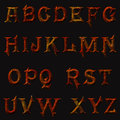 Metallic iron rusty alphabet retro metal rust letters Royalty Free Stock Photos