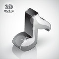 Metallic musical note icon from upper view isolated d music design element image contain transparent shadows reflections and Royalty Free Stock Photos
