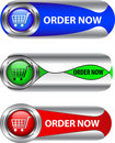 Metallic order now button/icon set Stock Image
