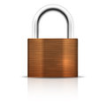 Metallic padlock closed lock security icon on white background vector illustration Stock Image