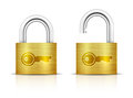 Metallic padlock locked and unlocked padlocks isolated on white background key embossed on vector illustration Stock Photo