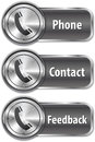Metallic phone sign on shiny web element Royalty Free Stock Photography