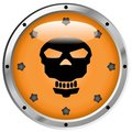 Metallic Pirate Skull Button Stock Image