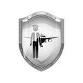 Metallic shield of pilot with aeroplane Royalty Free Stock Photo