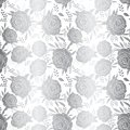 Metallic silver foil folk flowers on white repeating vector background. Scattered shiny vintage florals seamless pattern