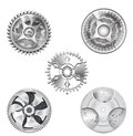 Metallic Silver Industrial Gears - 2 Royalty Free Stock Photo
