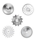 Metallic Silver Industrial Gears - 3 Royalty Free Stock Photo
