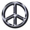 Metallic Silver Peace Sign Royalty Free Stock Photography