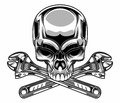 Metallic skull vector illustration of with wrench Stock Photos